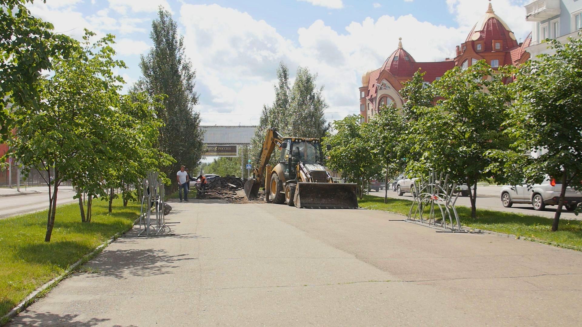 В Барнауле приступили к благоустройству пешеходной зоны по проспекту Ленина